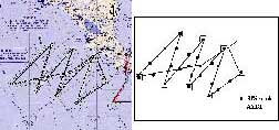 Flight Date: July 15, 2005; NOAA42; flight track and drop pattern