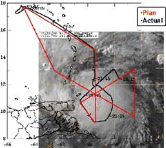 Flight Date: July 13, 2005; TS Gert flight plan