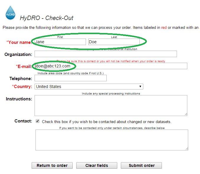 Image of pre-filled HyDRO order fields via Earthdata Login