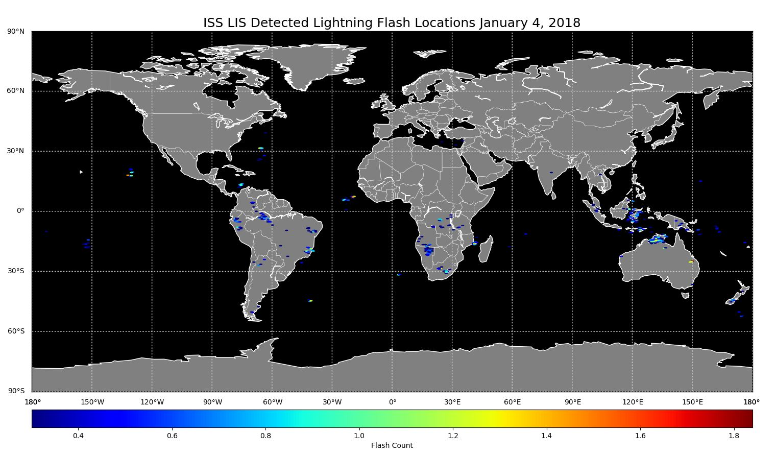 ISS LIS Lightning Flash Location Quickview using Python 2 7