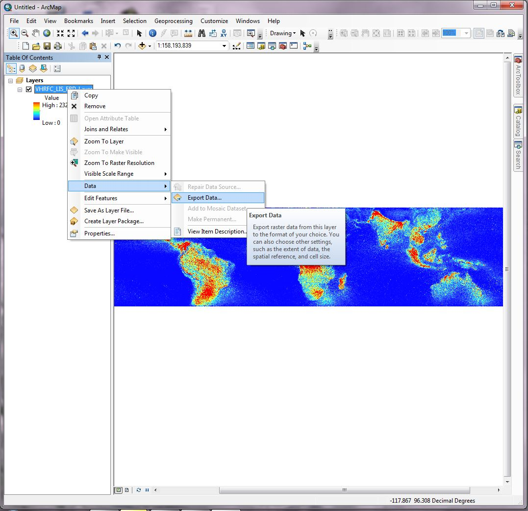 Using ArcGIS to Convert LIS Very High Resolution Gridded Lightning