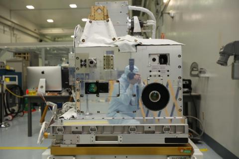 The LIS telescope can be seen at the lower right of the payload. Image by NASA's Kennedy Space Center.