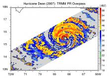 TRMM overpass over hurricane Dean