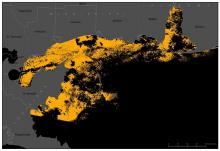 Landsat imagery depicting normal sediment dispersion in Mobile Bay before Hurricane Ivan
